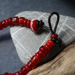 Glass Bracelet - Bright Red Color - Lightweight