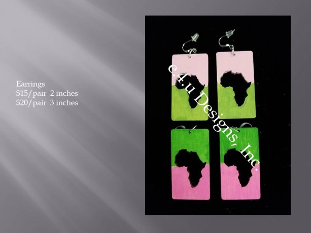 Pink and Green Africa Rectangle  earrings