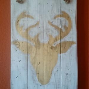 Rustic, handmade deer silhouette wall hanging