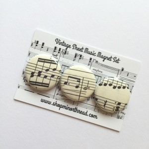 Sheet Music Magnets Made From Vintage Sheet Music Handmade by Minor Thread