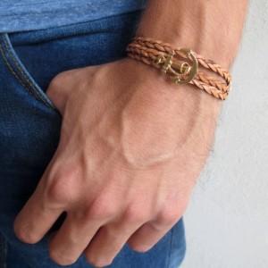 Men Anchor Bracelet - Men Leather Bracelet - Men Bracelet - Men Jewelry - Men Gift - Boyfriend Gift - Husband Gift - Present For Men - Male