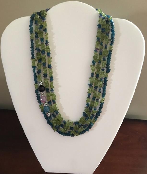 Peridot,Amethyst,Lapis Lazuli,Agate,Sterling Silver Necklace