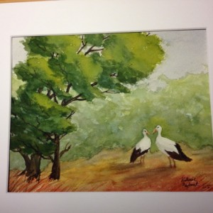 Crane couple original watercolor painting, signed, 8x10