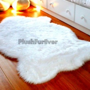 3' x 5' White Faux Fur Rug, single sheepskin rug fake animal skin rug, bedroom rug, nursery rug shag area fur throws rugs