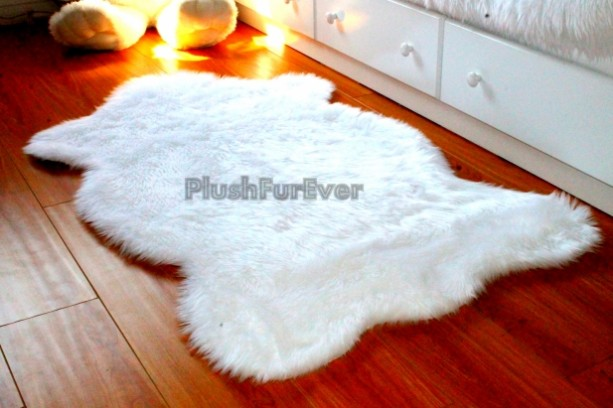 Great 3u0027 X 5u0027 White Faux Fur Rug, Single Sheepskin Rug Fake Animal Skin