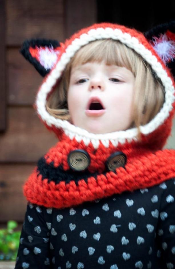 Crochet Fox Hooded Cowl Pattern : Crocheted Foxy Hooded Cowl aftcra
