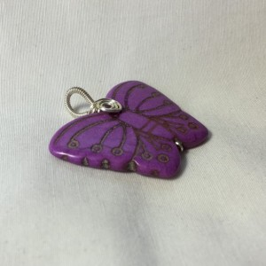 Carved Butterfly Pendant - Purple