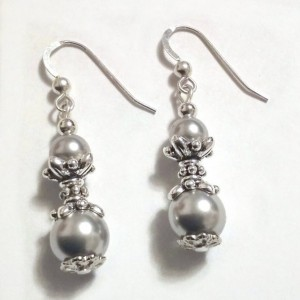 Dove Gray Pearl Silver Bridal Earrings, Bridesmaid Gift, Prom Jewelry, Earrings Present, Crystal Pearl Earrings, Victorian Earrings, Hers