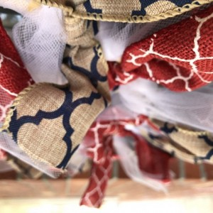 """Red white and burlap 13"""" wreath"""