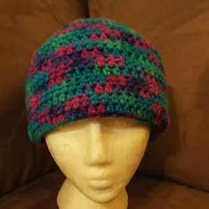 Fold Up Beanie - green pink purple
