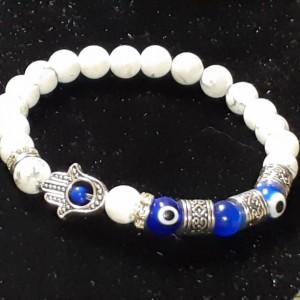 White Howlite Good Vibes, Positive Energy and Protection Gemstone Bracelet  Unisex stretch Chakra Bracelet with Hamsa Hand and Evil Eye.