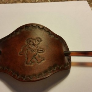 Handtooled Grateful Dead Bear Beret w/ Hair stick