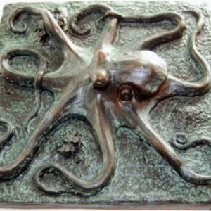 Octopus plaque or tile, octopus art sculpture