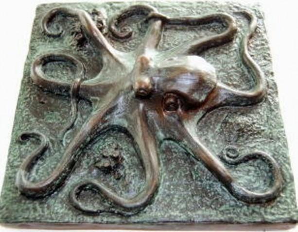 Octopus plaque or tile, octopus art sculpture