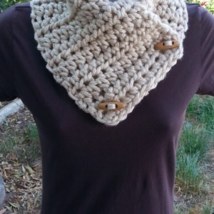 NECK WARMER SCARF Light Solid Tan Beige Buttoned Cowl with Toggle Wood Buttons, Extra Soft 100% Acrylic Handmade Crochet Knit..Ready to Ship in 3 Days