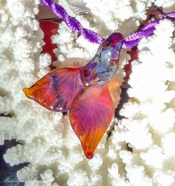 Handmade Mermaid Tail Necklace made of tough Pyrex Made to Order