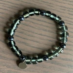 Men's stretch gray & gunmetal glass beaded bracelet 7-8mm - Limited Quantities!!!!!