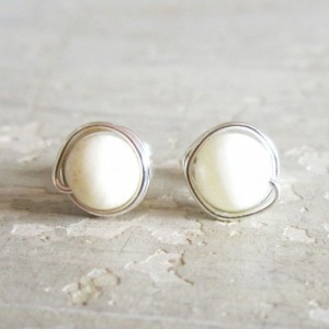 Snow White Stud Earrings, White Agate Post Earrings, Sterling Silver Studs, Wire Wrapped Earrings, Bright White Posts, Hypoallergenic