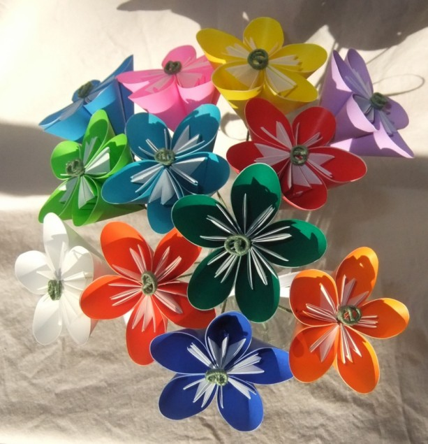 rainbow origami flower bouquet aftcra. Black Bedroom Furniture Sets. Home Design Ideas