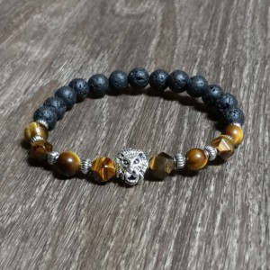 Lion's Head Protection & Balance Bracelet With Tiger Eye and Lava Rock Gemstones, Positive Energy Chakra Jewelry, Gift For Grads and Dads