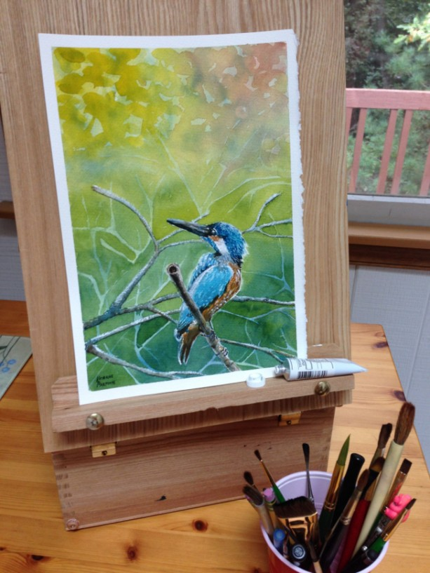 Kingfisher original watercolor painting, signed