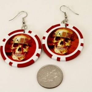 Skull Poker Chip EARRINGS - Rockabilly Punk Las Vegas Blackjack Upcycled Alternative