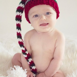 Knit Baby Hat~Photo Prop Hat-Elf Hat Size 6 Months