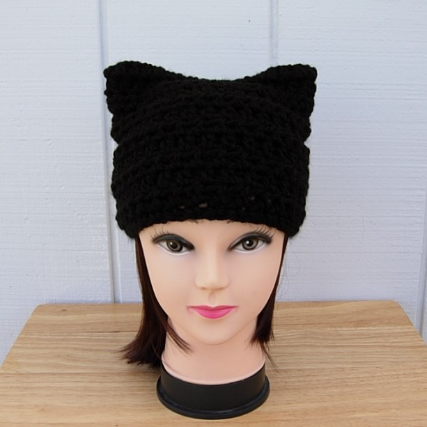 Solid Black Pussy Cat Hat with Kitty Ears, Handmade Soft 100% Acrylic Crochet Knit Winter Beanie Women's Rights, Protest March, Ready to Ship in 2 Days