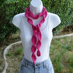 Solid Hot Pink Skinny SUMMER SCARF Small 100% Cotton Spiral Crochet Knit Narrow Lightweight Warm Weather Dark Pink Scarf, Ready to Ship in 2 Days