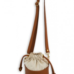 Small Ditty Bag in Amoré - Natural Canvas and Leather - Crossbody Bag - Solid Brass Hardware - Bucket Bag Purse by Beaudin