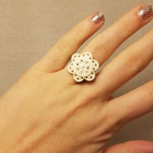 White Lace Floral Ring