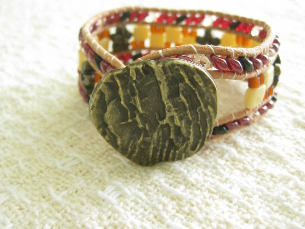 Leather beaded cuff bracelet in multi color Wrap bracelet, designer look