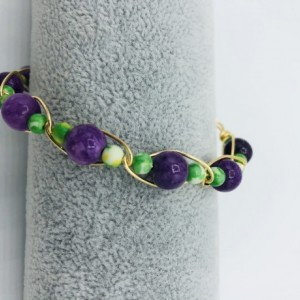 Gold Wrapped Green and Purple Bracelet