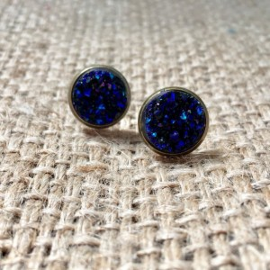 Blue Druzy Earrings, Metallic Druzy Studs, Metallic Blue Studs, Faux Druzy Studs, Druzy Post Earrings, Faux Druzy Jewelry, Blue Druzy Studs