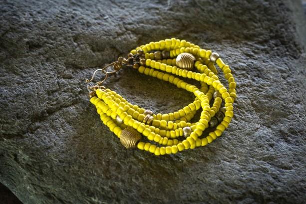 African jewelry, Tribal beaded bracelet, Yellow beaded bracelet, Ethnic bracelet, African trade bead bracelet,  Chunky yellow bracelet, gift