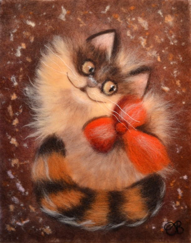 "Wool Painting ""Ginger cat"""