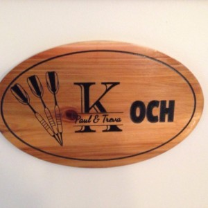 Oval Cedar personalized custom family last name sign