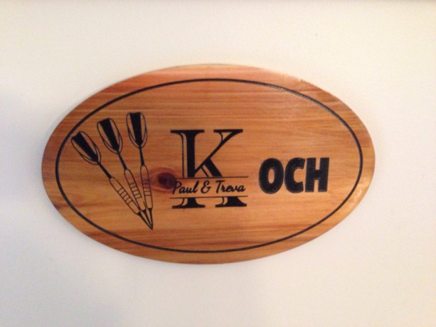 Oval Cedar personalized custom family last name sign
