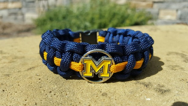 Michigan Wolverines Paracord Bracelet NFL Officially Licensed Charm