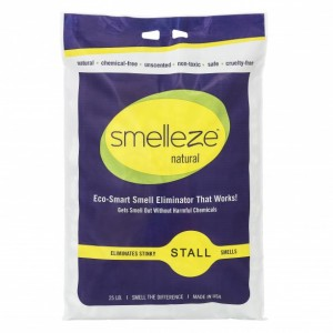 SMELLEZE Natural Stall Smell Deodorizer Granules: 25 lb. Bag Sprinkle 3-5 Cups/Stall