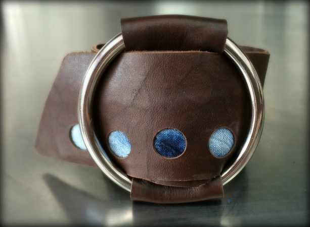 Shibori Brown Leather Wrap Cuff with Silver O Ring (Medium)