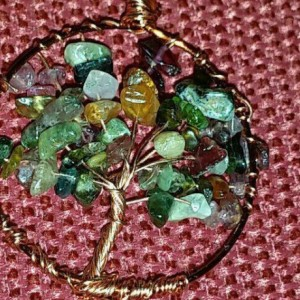 Tree of life Copper pendant with tourmaline gemstones