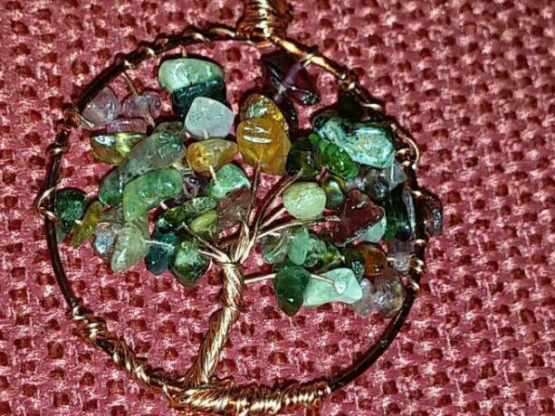 Tree of life Copper pendant with tourmaline gemstones