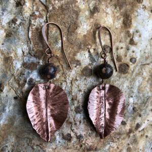 Copper and leopard jasper leaf earrings