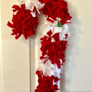 Felt, Ribbon, & Reclaimed Fabric Candy Cane Christmas Wreath - Peppermint Wreath