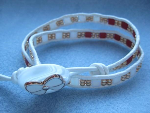 Leather wrapped bracelet Triple wrap Designer look w/o designer price tag LW22