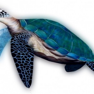 Painted carved Palm Frond Sea Turtle Marine Life painting Nautical decor