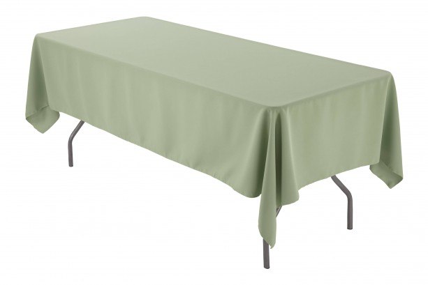 "60"" x 102"" Rectangular Sage Tablecloth Polyester | Wedding Tablecloth"