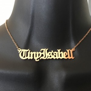Personalized, Old English name necklace