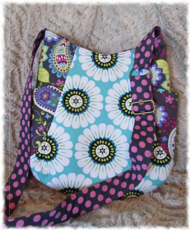 Paisley Daisy 241 Tote Ready to Ship Adjustable Strap Purse Handbag Floral Purple Gray White Aqua Dot